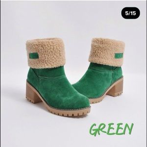 Green Wome's Suede Mid Calf & Ankle Boots